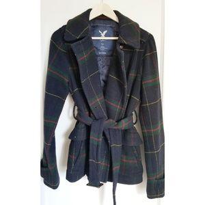 American Eagle Wool Navy Blue Plaid Coat